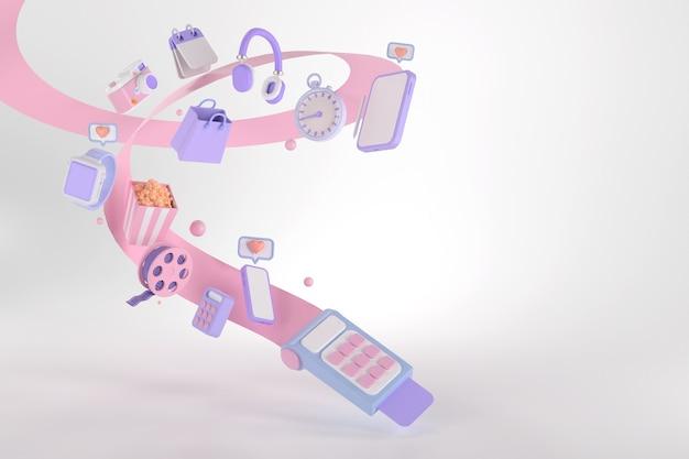 Representación 3d de lector de tarjetas y compras en línea.