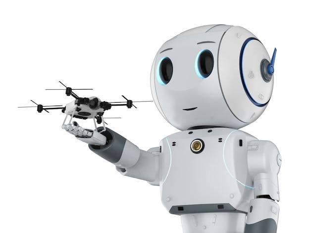 Representación 3d lindo robot de inteligencia artificial con drone aislado en blanco