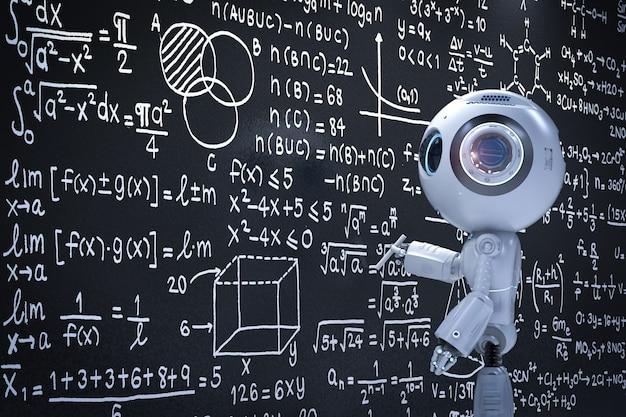 Representación 3d lindo robot de inteligencia artificial que aprende con pizarra