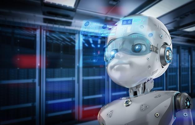 Representación 3d lindo robot o robot de inteligencia artificial con pantalla gráfica en la sala de servidores