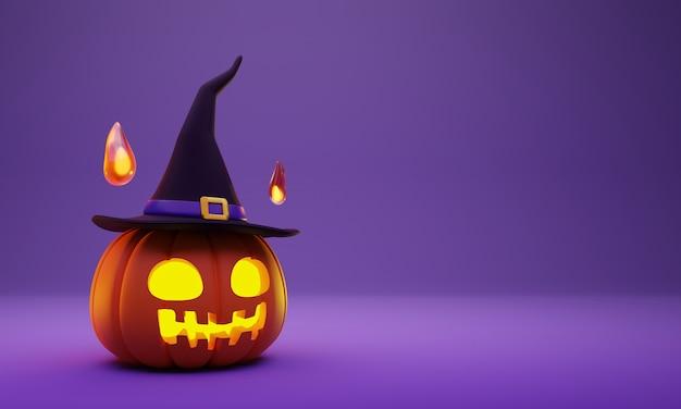 Representación 3d de la linterna de cabeza de calabaza de halloween con sombrero de bruja y decoración de espíritu de bola de fuego en púrpura