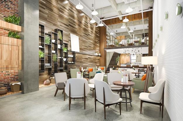 Representación 3d loft y recepción de hotel de lujo y cafetería salón restaurante