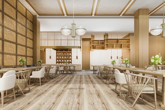 Representación 3d de loft y recepción de hotel de lujo y escandinavo cafe lounge restaurante