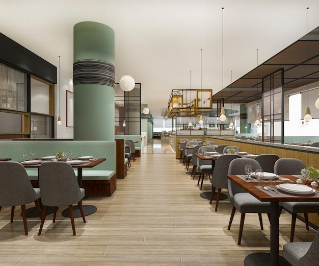 Representación 3d de loft y recepción de hotel de lujo y restaurante cafetería vintage