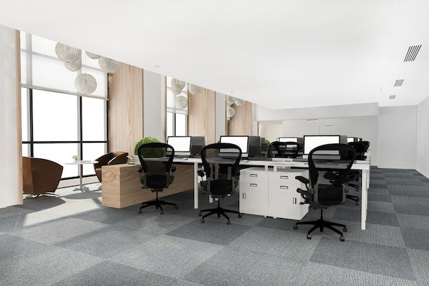 Representación 3d loft reunión de negocios y sala de trabajo en edificio de oficinas