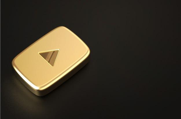 Representación 3d del logo dorado de youtube