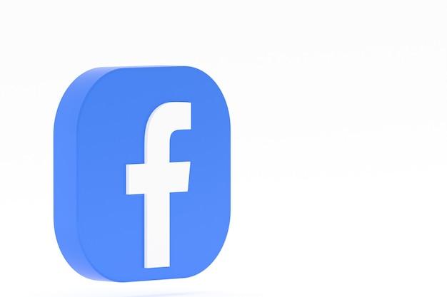 Representación 3d del logotipo de la aplicación de facebook sobre fondo blanco
