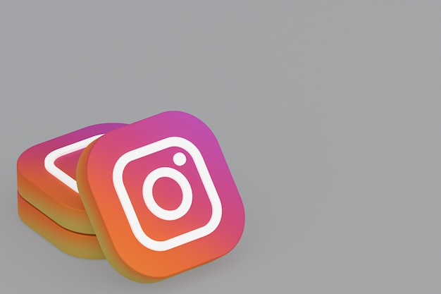 Representación 3d del logotipo de la aplicación de instagram sobre fondo gris