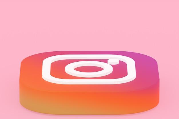 Representación 3d del logotipo de la aplicación de instagram sobre fondo rosa