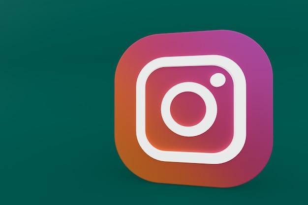 Representación 3d del logotipo de la aplicación de instagram sobre fondo verde