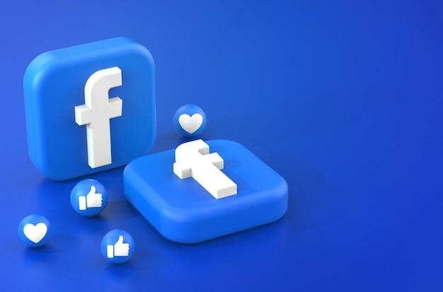 Representación 3d del logotipo de facebook