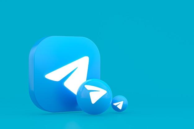 Representación 3d del logotipo mínimo de telegram de cerca para la plantilla de fondo de diseño