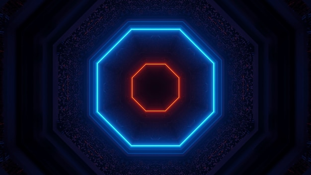 Representación 3d de luces tecno de ciencia ficción futuristas que crean formas geniales: un fondo genial