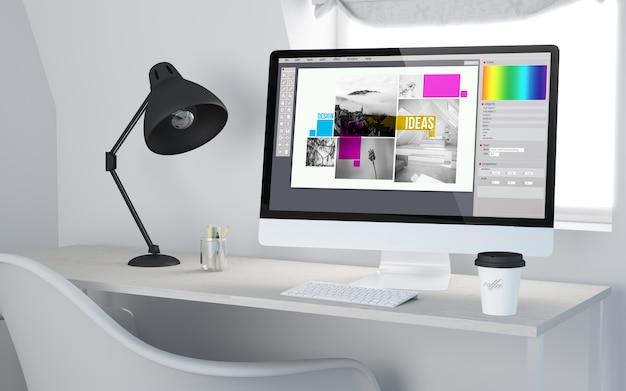 Representación 3d de un lugar de trabajo de escritorio con computadora que muestra software de diseño gráfico.