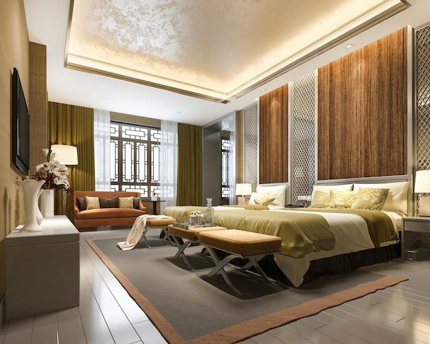 Representación 3d de lujo chino dormitorio suite en hotel resort