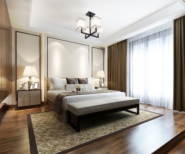 Representación 3d de lujo chino moderno dormitorio suite en hotel con armario