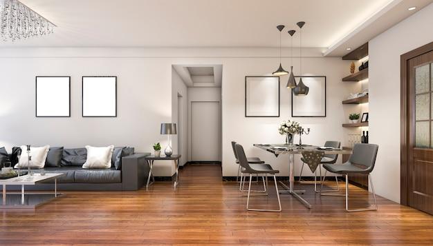 Representación 3d de lujo y moderna sala de estar cerca de la cocina