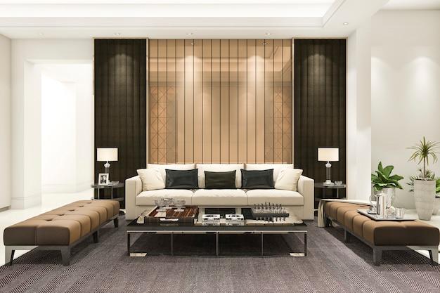 Representación 3d de lujo y moderna sala de estar con lámpara de araña