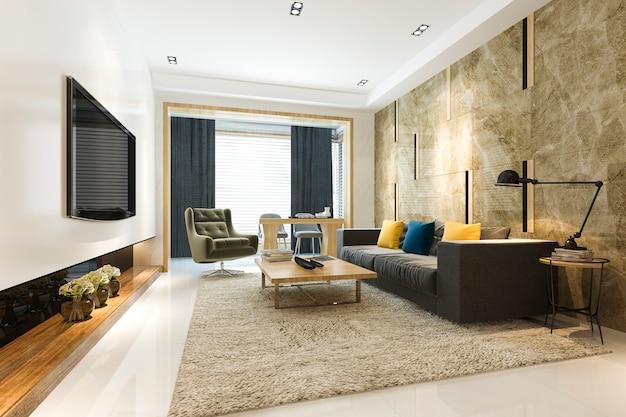 Representación 3d de lujo y moderna sala de estar con sofá de tela