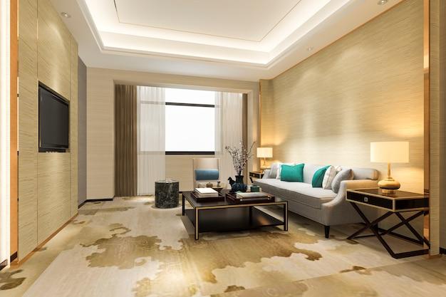 Representación 3d de lujo y moderna sala de estar en suite hotel con alfombra