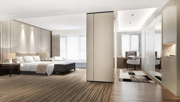 Representación 3d de lujo moderno dormitorio en suite tv con armario y vestidor