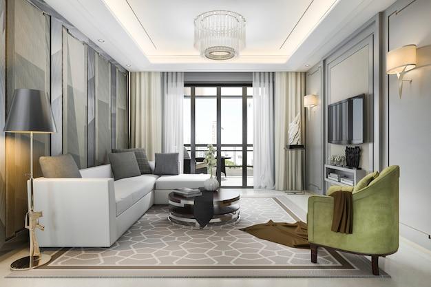 Representación 3d de lujo y sala de estar moderna con excelente vista