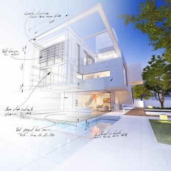 Representación 3d de una lujosa villa que contrasta con una parte de proyecto técnico.