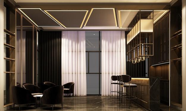 Representación 3d de un lujoso lounge bar nocturno en una luz púrpura