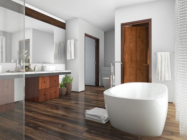 Representación 3d de madera y azulejos de diseño baño cerca de la ventana una cortina
