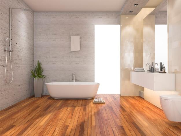 Representación 3d de madera brillante baño y ducha con decoración moderna
