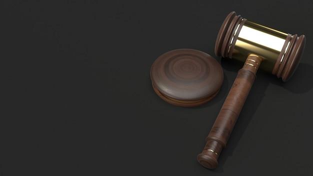 Representación 3d de madera de martillo para la ley.