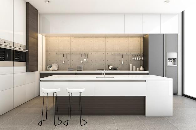 Representación 3d de madera moderna y cocina tipo loft con barra de comedor