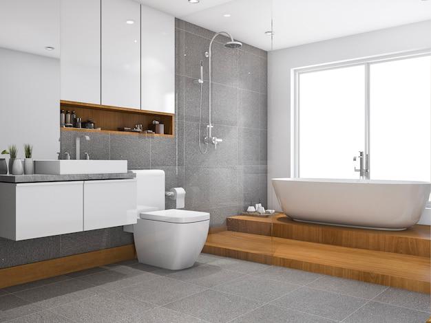 Representación 3d de madera paso baño y aseo cerca de la ventana
