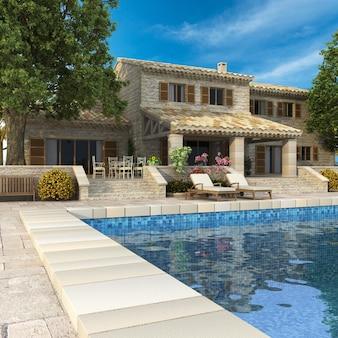 Representación 3d de una magnífica villa con jardín y piscina.