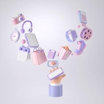 Representación 3d de mano y compras en línea.