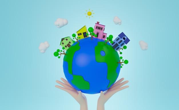 Representación 3d mano sujetando el mundo con cuatro casas y árboles en el mundo