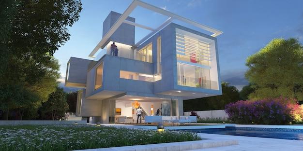 Representación 3d de una mansión moderna de lujo con piscina