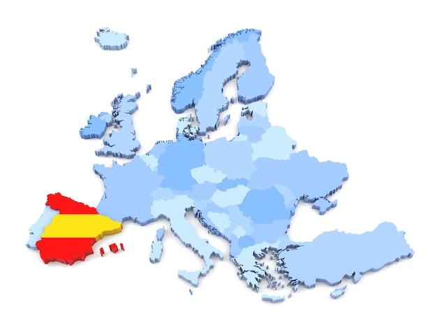 Representación 3d del mapa de europa, españa con bandera