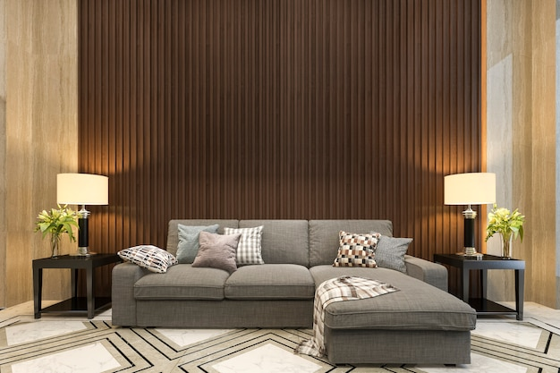 Representación 3d maqueta decoración de madera en la sala de estar con sofá estilo clásico