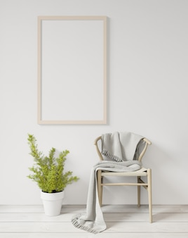 Representación 3d maqueta de marco de cartel blanco en la pared blanca, piso de madera, silla y planta, muro de hormigón en bruto