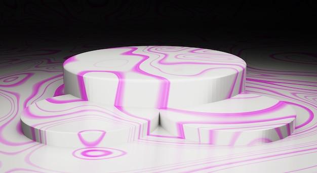 Representación 3d maqueta pantalla de escenario de textura de mármol abstracto blanco-rosa
