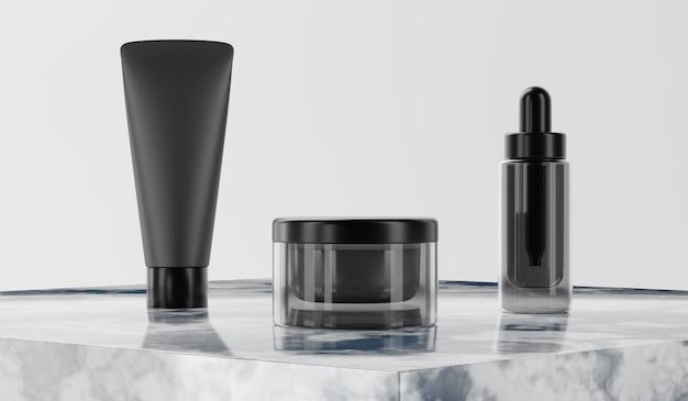Representación 3d maqueta paquete cosmético para el cuidado de la piel.