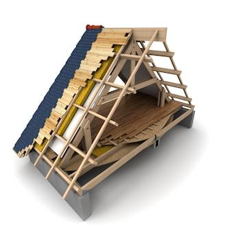 Representación 3d de un marco de madera del techo de la casa