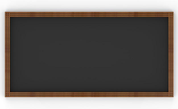 Representación 3d marco de tablero de madera de estilo clásico simple vacío oscuro sobre fondo blanco.