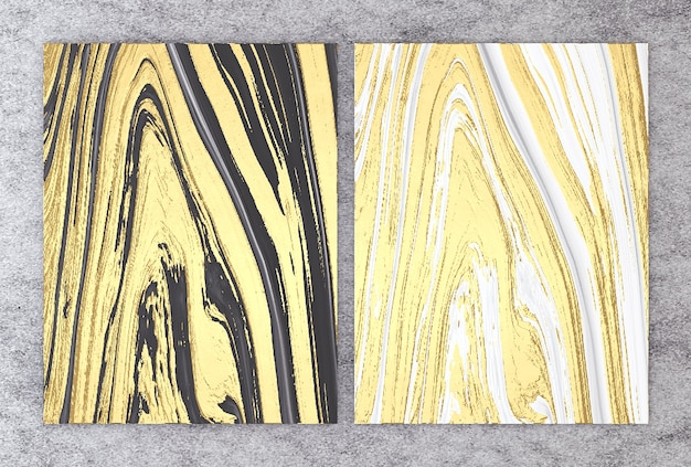 Representación 3d de mármol blanco y negro con lámina dorada.