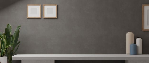Representación 3d, de mesa blanca con decoración para el hogar y espacio de copia en la sala de estar con marco simulado en el fondo de la pared del desván, ilustración 3d