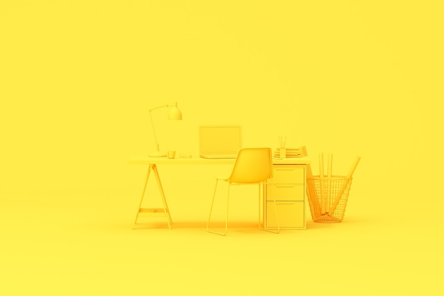 Representación 3d de la mesa de escritorio del espacio de trabajo con accesorios para computadora portátil y oficina.