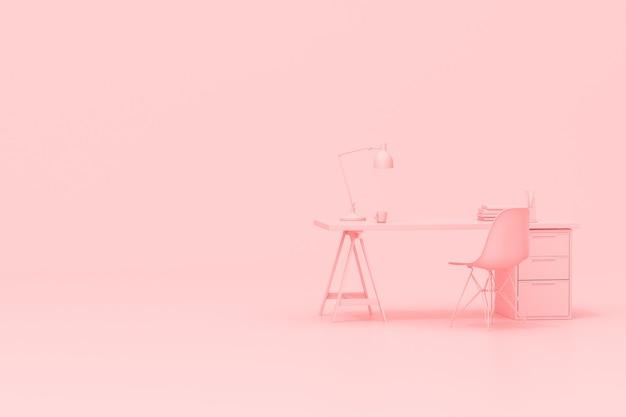 Representación 3d de la mesa de escritorio del espacio de trabajo con accesorios de oficina sobre fondo rosa.