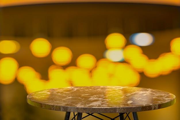 Representación 3d, mesa de mármol vacía para exhibir productos frente al restaurante