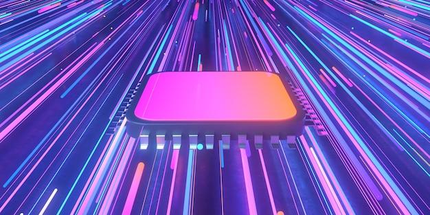 Representación 3d de microchip y luces de neón.